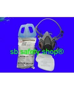 หน้ากากกันสารเคมี ท่อคู่ 3M-6200+ตลับกรอง 3M-6057+แผ่นกรองฝุ่น 3M-5N11+ฝาครอบ 3M-501