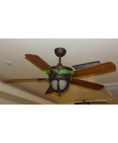 พัดลมโคมไฟเพดานใบพัดไม้สัก  พร้อมรีโมท เหลือชุดสุดท้าย จำหน่ายชุดโชว์ ใบพัดไม้สัก