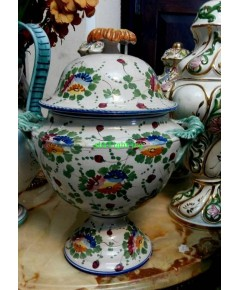 โถมีหูและฝาปิด  Porcelain  Italian