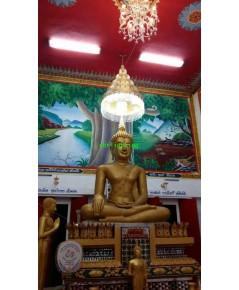 งานติดตั้งโคมไฟ ในพระอุโบสถ วัดหนองหวาย อ.เลาขวัญ  จ.กาญจนบุรี ปลายปี59