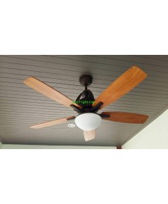 พัดลมโคมไฟเพดานใบพัดไม้สัก  พร้อมรีโมท