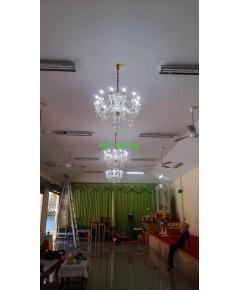 งานติดตั้งโคมไฟ ในศาลา วัดคันลัด   15 พฤษภาคม  ปี 2561