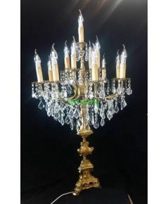 โคมไฟตั้งโต๊ะคริสตัล ทองเหลืองทองสำริด  งานสเปน