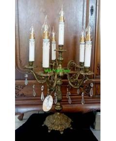 โคมไฟตั้งโต๊ะทองเหลืองทองสำริด   งาน อิตาลี