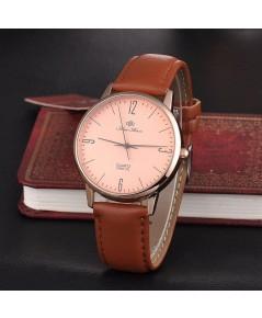 นาฬิกา ข้อมือ สไตล์ Minimalist สไตล์ญี่ปุ่นจากสนามบินฮ่องกง เชคแลปก๊อก   (สีน้ำตาล)