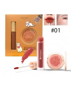 Nee cara Makeup Blush  lip Glaze เซ็ตลิป+ปัดแก้ม No.01 ราคาส่งถูกๆ W.110 รหัส L17-1
