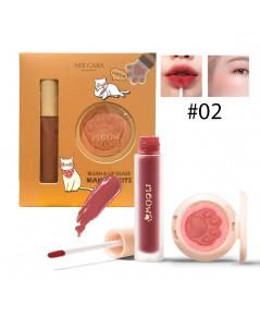 Nee cara Makeup Blush  lip Glaze เซ็ตลิป+ปัดแก้ม No.02 ราคาส่งถูกๆ W.110 รหัส L17-2
