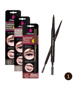 Neaura Eyebrow Pencil 2in1 ดินสอเขียนคิ้วกันเหงื่อ กันน้ำ นีออร่า รุ่น Slim No.1 Dark Brown W.50 รห