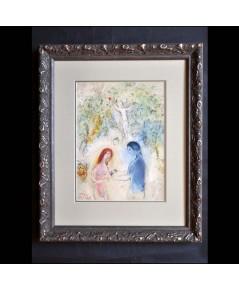 ภาพวาดศิลปะแท้ ! Marc Chagall watercolour/pastel on Lithograph Paper Lovers, Daphnis and Chloe 1962