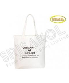 กระเป๋าช็อปปิ้ง ผ้าดิบ สายขาว รหัส A2017-9B