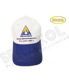 หมวก Cap 6 ชิ้น สีขาว ปีกแซนวิช สีน้ำเงิน รหัส A2004-27H