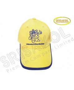 หมวก Cap 6 ชิ้น สีเหลือง กุ้นปีกหมวก สีน้ำเงิน รหัส A2004-28H