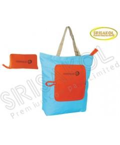 กระเป๋าช้อปปิ้งพับเก็บได้  สีฟ้า/ส้ม รหัส A1933-8B
