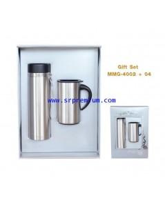 เซ็ตกระบอกน้ำสแตนเลส+แก้วสแตนเลส Gift set MMG-4002+04
