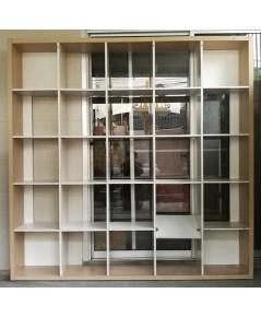 ขายชั้นวางหนังสือ-ชั้นวางของ-ตู้โชว์-ตู้วางวัตถุมงคล-เครื่องรางขนาดบูชาแบบโล่งสีเฮเซลนัท 25 ช่อง