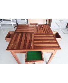 ชุดโต๊ะไพ่ไม้แข็ง มีลิ้นชัก