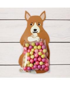 ถุงซองพลาสติกใสพร้อมที่รัดถุงลายหมาป่าสีน้ำตาล 6x11 cm. 100 ชิ้น