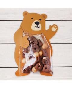 ถุงซองพลาสติกใสพร้อมที่รัดถุงลายหมีสีน้ำตาล 6x11 cm. 100 ชิ้น