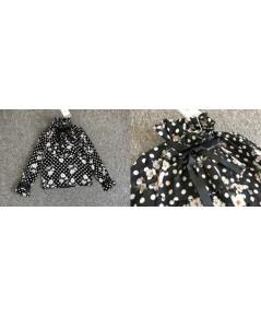 เสื้อแขนยาวลายจุดดอกไม้สีดำผ้าชีฟอง ไซส์ L