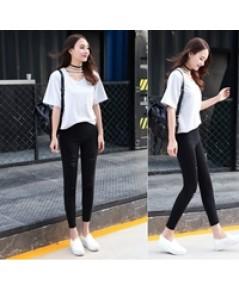 กางเกงผ้ายืด ขาดแนวๆนิสๆสีดำไซส์ m l