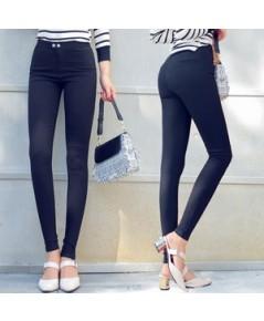 กางเกงผ้ายืดตามตัวเนื้อผ้าหนาติดกระดุม ไซส์ m xl