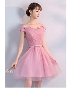 ชุดราตรีกระโปรงสลิมแต่งดอกไม้ สีชมพู ไซส์ M