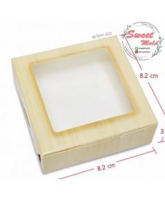 กล่องลายพื้นไม้ แพ็ค60ชิ้น ขนาด 8.2×8.2×3cm