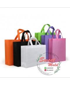 กระเป๋าผ้าสปันบอนด์สีส้ม(แนวนอน)ขนาด30x38x10cmแพ็ค20ชิ้น