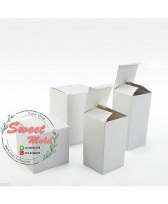 กล่องกระดาษสีขาวเปิดบนล่าง ขนาด 9x9x14 cm แพ็ค 100 ชิ้น