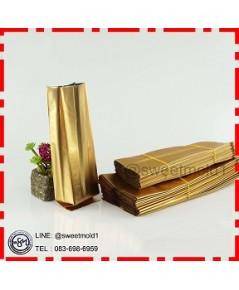 ถุงอลูมิเนียมฟอยล์สีทอง ขนาด7x15+4cm(แพ็ค100ชิ้น)