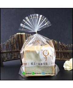 ถุงใส ใส่ขนมปังปอนด์(ลายตุ๊กตา) ขนาด 23x30+6cm  แพ็ค 100ชิ้น