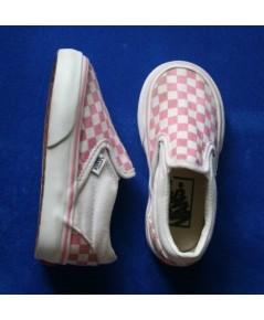 *ขายแล้ว*[used] รองเท้าเด็ก Vans slip on ลายตารางหมากรุก สีขาว-ชมพู ไซส์ 7 us toddler