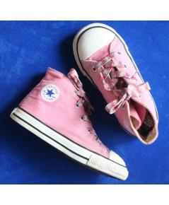 *ขายแล้ว*[used] รองเท้าเด็ก Converse All Star Hi หุ้มข้อ สีชมพู ไซส์ 9 us [15.5cm]