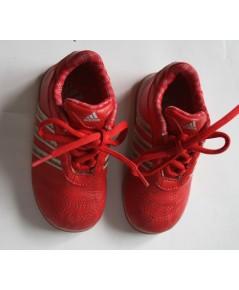 *ขายแล้ว*[used มือสอง] รองเท้าเด็ก Adidas Kids สีแดง แถบใสสีเทา ด้านในบุลายสก๊อต ไซส์ 6k usa