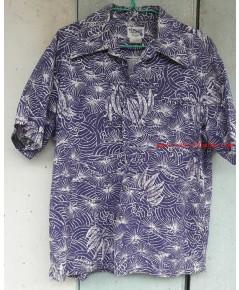 --ขายแล้วค่ะ--Sold Out-เสื้อฮาวาย ลายวินเทจ สีน้ำเงิน สวยมาก ๆ ตัวนี้ made in Hawaii U.S.A. หายากค่ะ