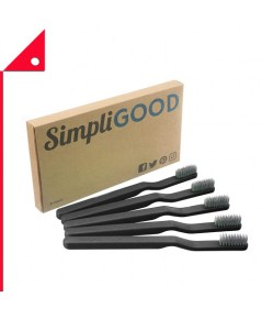 SimpliGOOD : SPG AMZ001* แปรงสีฟัน Toothbrushes Black, 5 Count