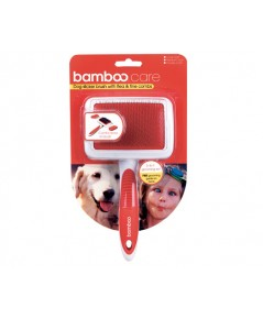 Bamboo 90011 Dog Wire Brush With Flea  Fine Combs