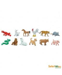 Safari Ltd. : SFR660104 โมเดลสัตว์ 12 นักษัตรแบบแพ็คหลอด Chinese Zodiac