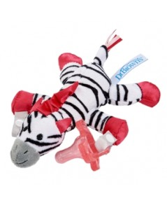 Dr.Brown\'s : DRBAC048-P6 จุกหลอกพร้อมตุ๊กตา Zebra Lovey with Pink One-Piece Pacifier