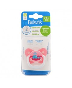 Dr.Brown\'s : DRB PV11304-SPX จุกหลอก PreVent BUTTERFLY SHIELD Pacifier, Stage 1 * 0-6M - Pink, 1pk.
