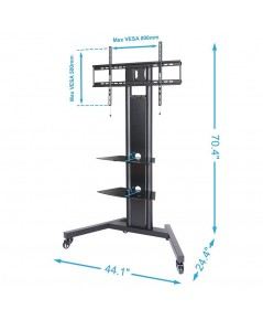 FEG TT211201MBA* : Fenge Black Mobile TV Cart