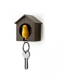 LKS KCBHBRYL* : Luckie Street Birdhouse Key Ring - Brown House with Yellow Bird
