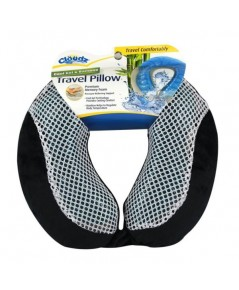 Cloudz : CLDPIL-948583-CAT* หมอนรองคอ Cool Gel  Bamboo Memory Foam Travel Pillow - Black