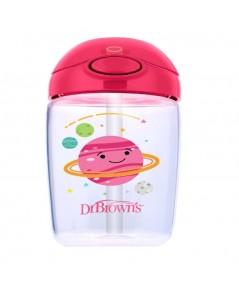 Dr. Brown\'s : DRBTC21014 ถ้วยหัดดื่ม 12 oz / 350 ml Straw Cup, Pink Planets