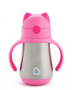 Munchkin : MNK17400 ถ้วยหัดดื่ม 8oz. Cool Cat Stainless Steel Cup - 1 pk
