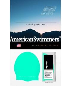 American Swimmers : ASWGRN*  หมวกว่ายน้ำ Swimmers Professional Silicone Swim Cap Green