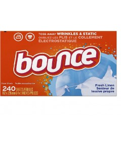 Bounce : BOU0004* แผ่นหอมปรับผ้านุ่ม Fresh Linen Scented Fabric Softener Dryer Sheets 240 Count