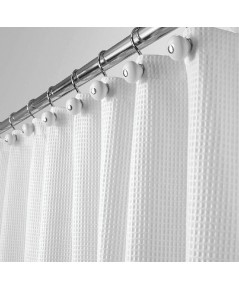 mDesign : MDSSCL-WHE* ม่านกั้นอาบน้ำ Cotton Blend Fabric Shower Curtain White