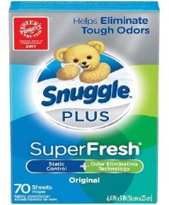 Snuggle : SGLORG-70* แผ่นหอมปรับผ้านุ่ม Plus Super Fresh Fabric Softener Dryer SheetsOriginal70Count