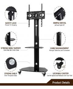 TAVR : TAVTF9001* ขาตั้งทีวี Rolling Mobile TV Cart Floor Stand